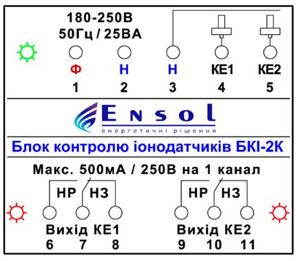 Блок контроля ионодатчиков - схема подключения