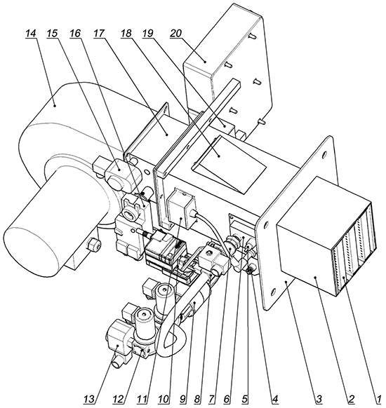 Схема промислового пальника